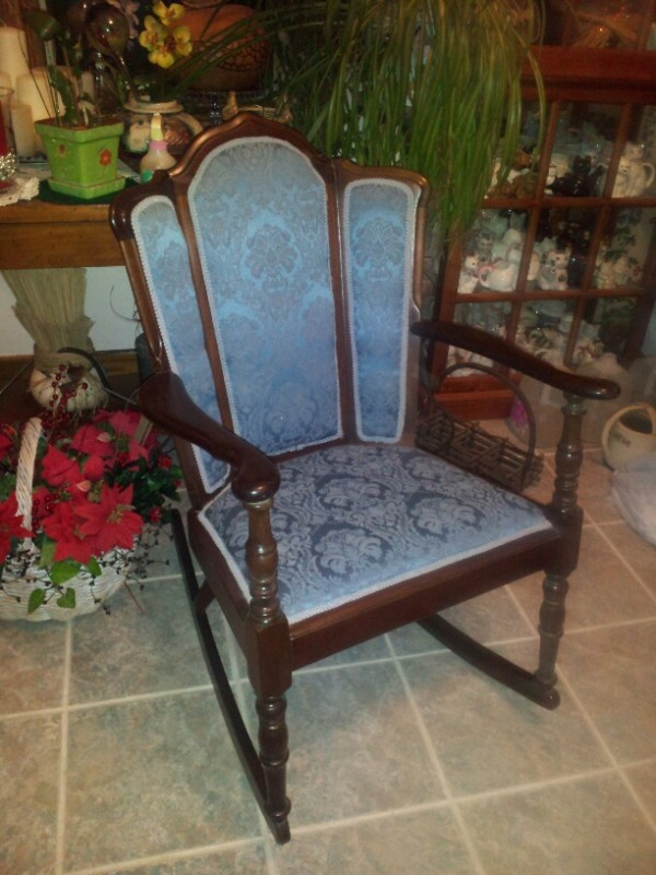 Re-Upholstered Blue Chair